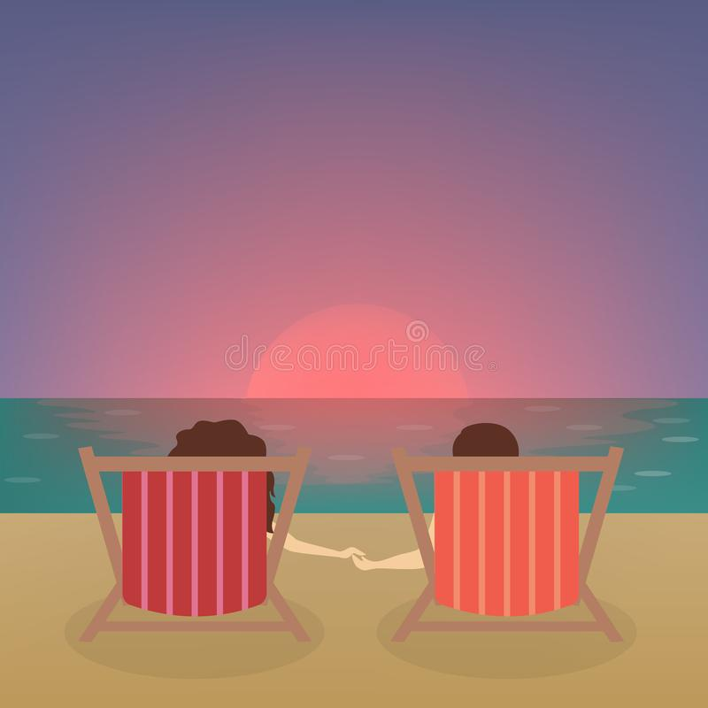 Couple at the beach. vector illustration