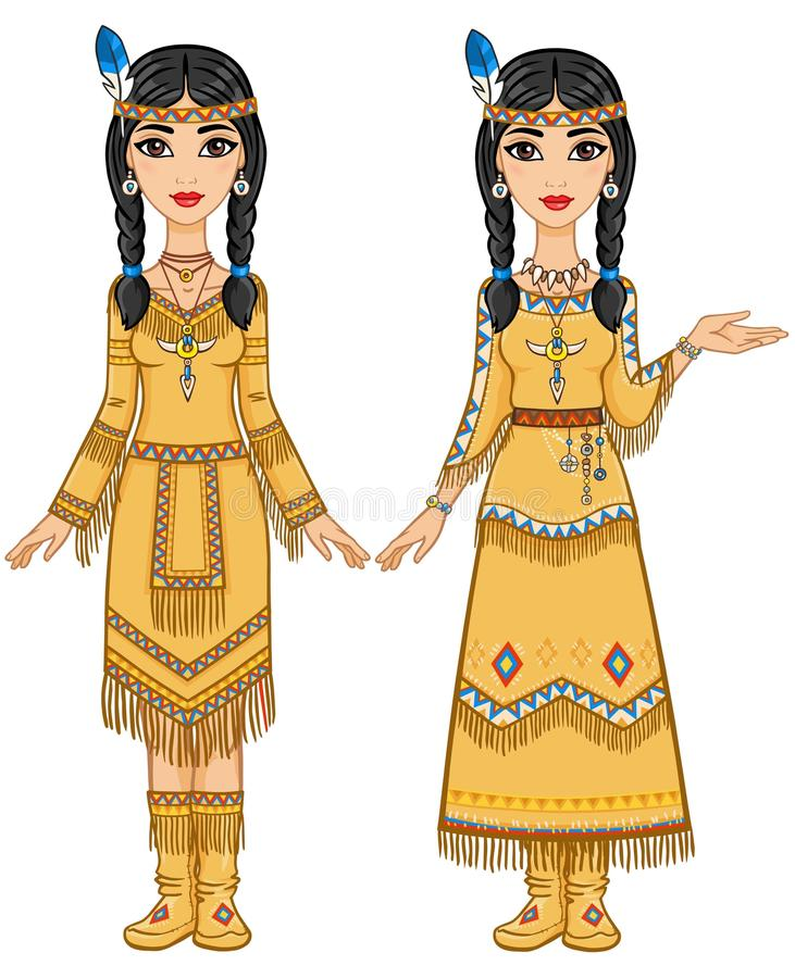 Couple of beautiful animation girls in clothes of the American Indians in different poses. stock illustration