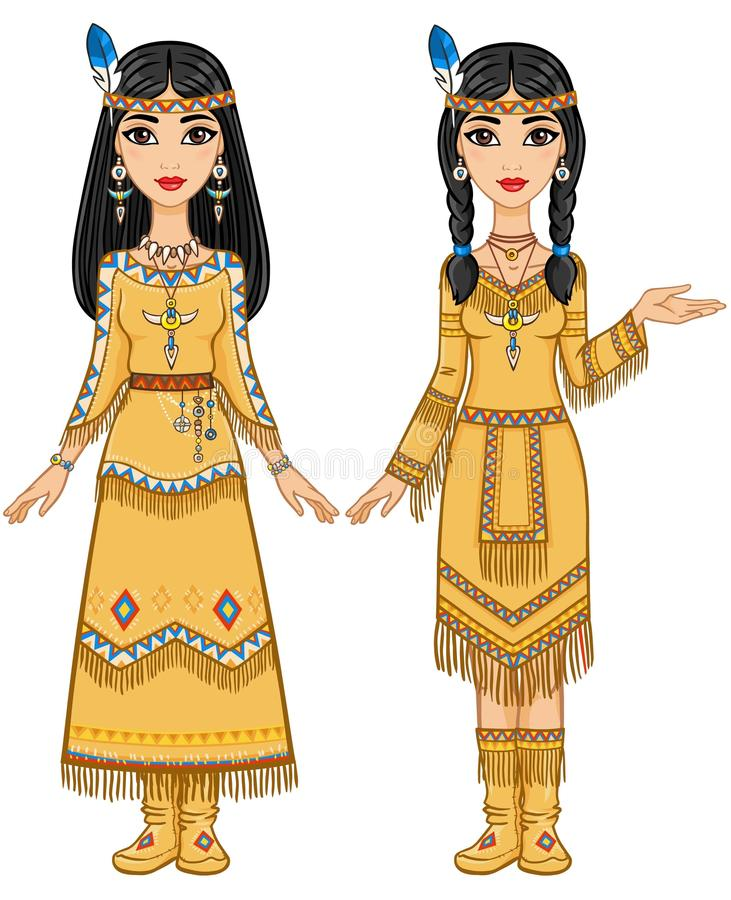 Couple of beautiful animation girls in clothes of the American Indians in different poses. vector illustration