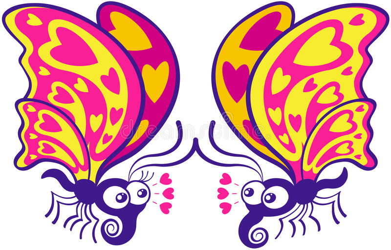 Couple of beautiful butterflies madly falling in love royalty free illustration