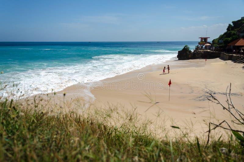 Couple at Beautiful Dreamland Beach Bali stock photos