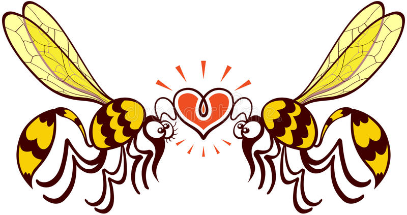 Couple of beautiful wasps deeply falling in love. Impressive couple of wasps flying, staring at each other and forming a shiny heart with their antennae royalty free illustration