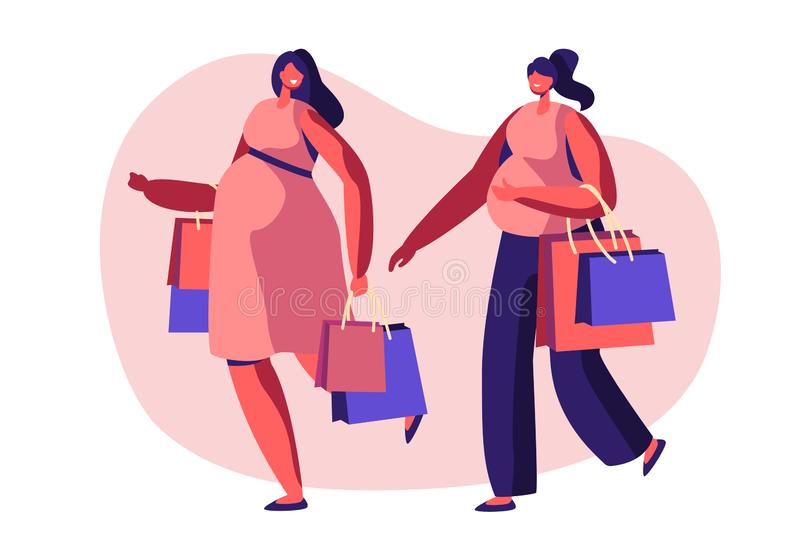 Couple of Beautiful Young Pregnant Women Going Shopping. Girls Expecting Babies Leisure, Spare Time, Meeting Friends. Pregnancy. Couple of Beautiful Young vector illustration