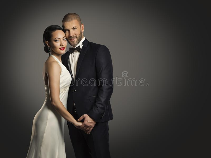 Couple Beauty Portrait, Handsome Man and Elegant Woman stock photo