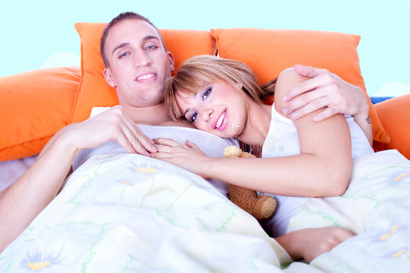 Download Couple In Bed Are Trying To Sleep Stock Photo - Image: 13277790