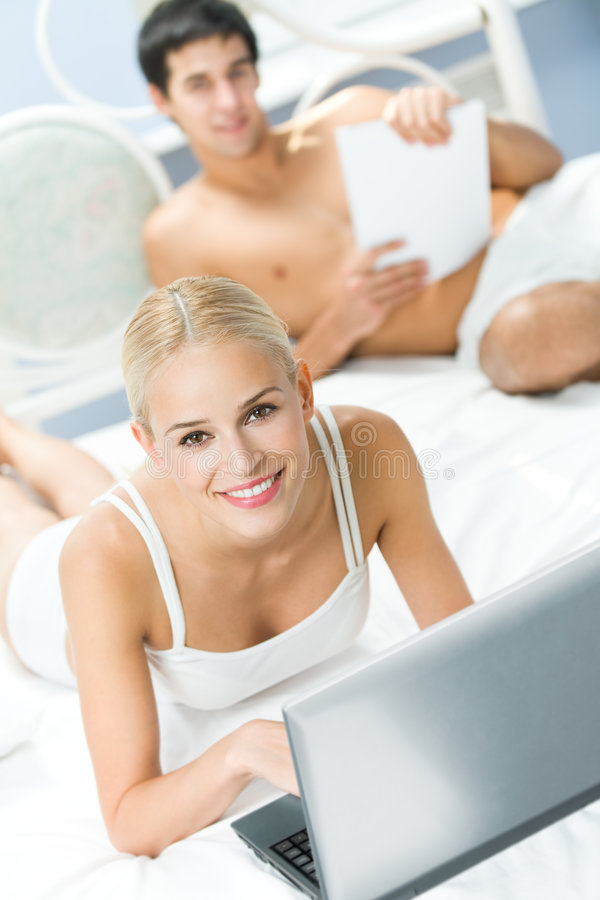 Couple at bedroom royalty free stock photos