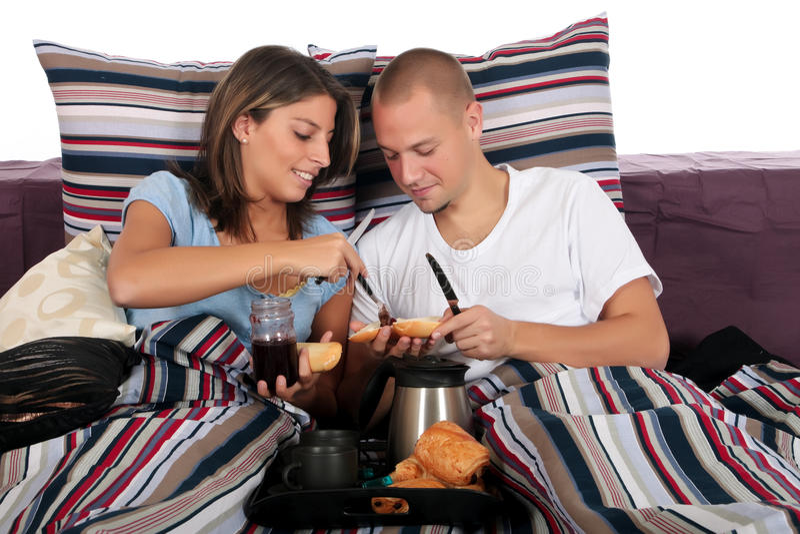 Download Couple, bedroom breakfast stock photo. Image of woman - 11436286