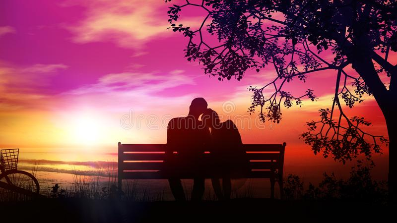 Couple on a bench under the tree watching the ocean after a bike ride. A married couple is sitting on a bench and watching the sunset and the ocean after a bike stock photos