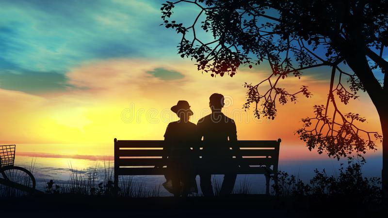 Couple on a bench under the tree watching the ocean. Silhouettes of a couple sitting on a bench and watching the ocean sunset royalty free stock image