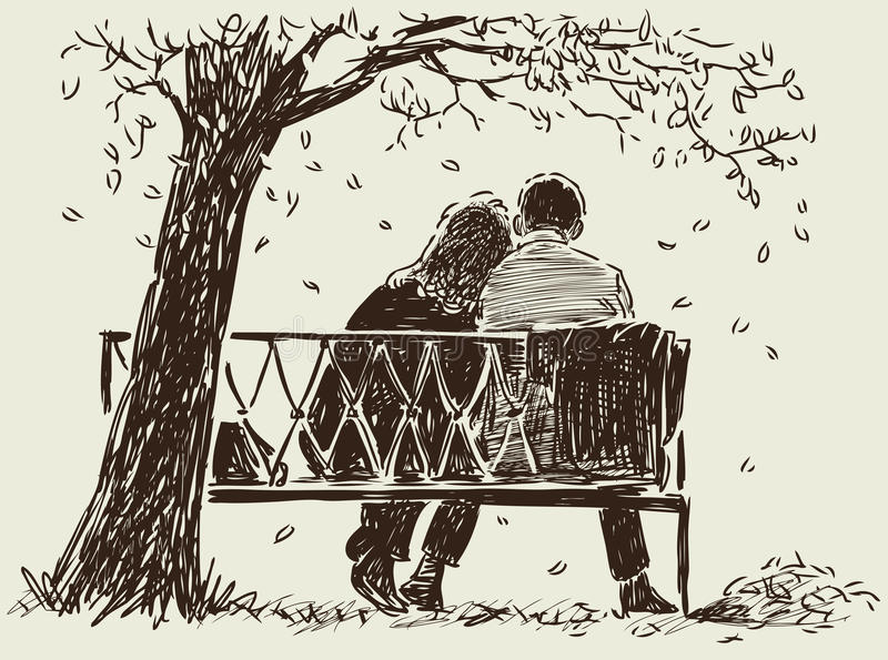 Couple on the bench royalty free illustration