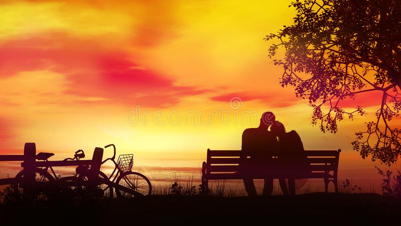 Couple on a bench watching the evening ocean after a bike ride. A married couple is sitting on a bench and watching the sunset and the ocean after a bike ride stock images