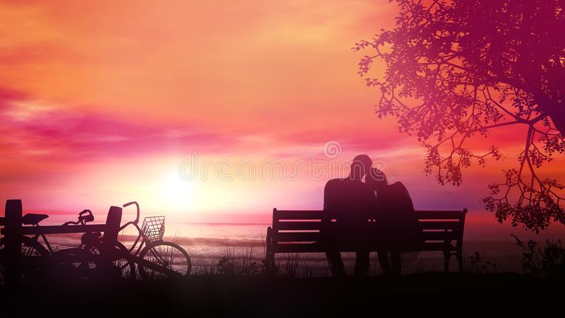 Couple on a bench watching the ocean sunset after a bike ride. A married couple is sitting on a bench and watching the sunset and the ocean after a bike ride stock image