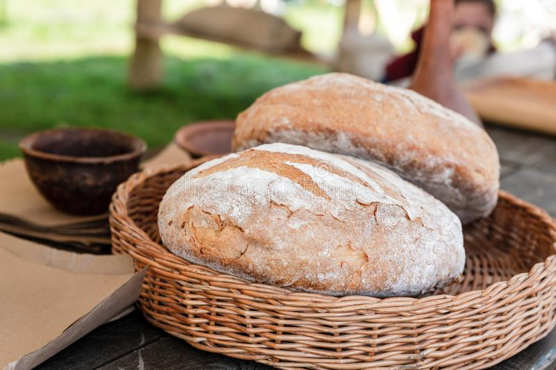 Couple big loaf of bread appetizing fresh rustic base culinary rustic natural food lunch royalty free stock photography