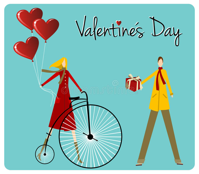 Download Couple With Bike Valentines Day Greeting Car Stock Vector - Illustration: 23227447