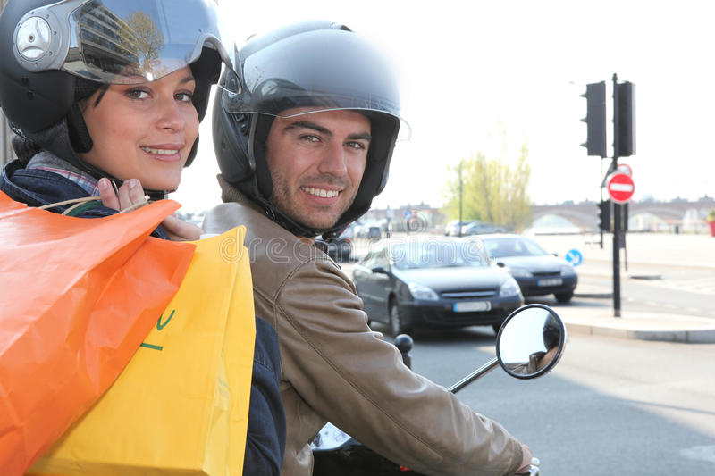 Download Couple of bikers stock photo. Image of casualties, shopping - 24220668