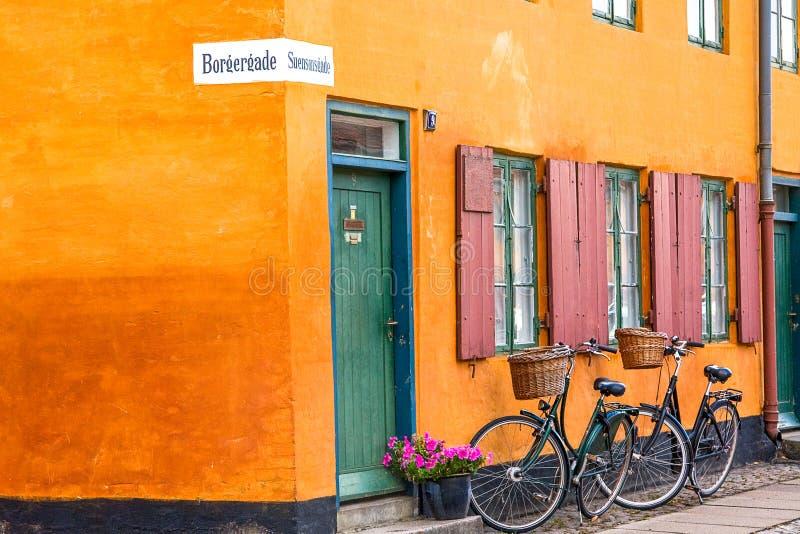 Couple of bikes in Copenhagen royalty free stock photo