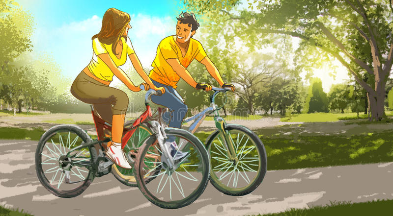 Couple On Bikes In The Park Stock Illustration