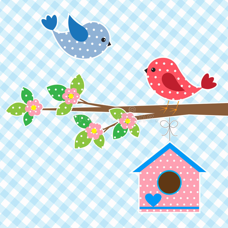 Couple of birds and birdhouse royalty free illustration