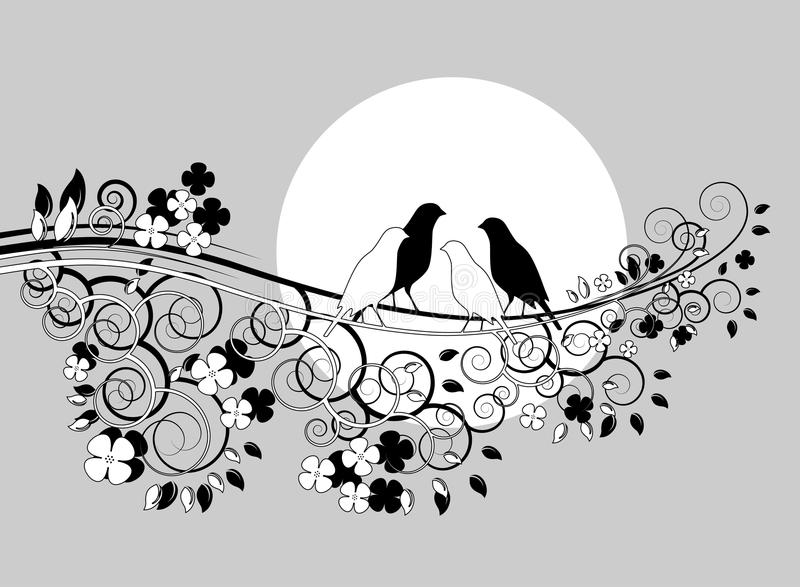 Couple of birds on branch royalty free illustration