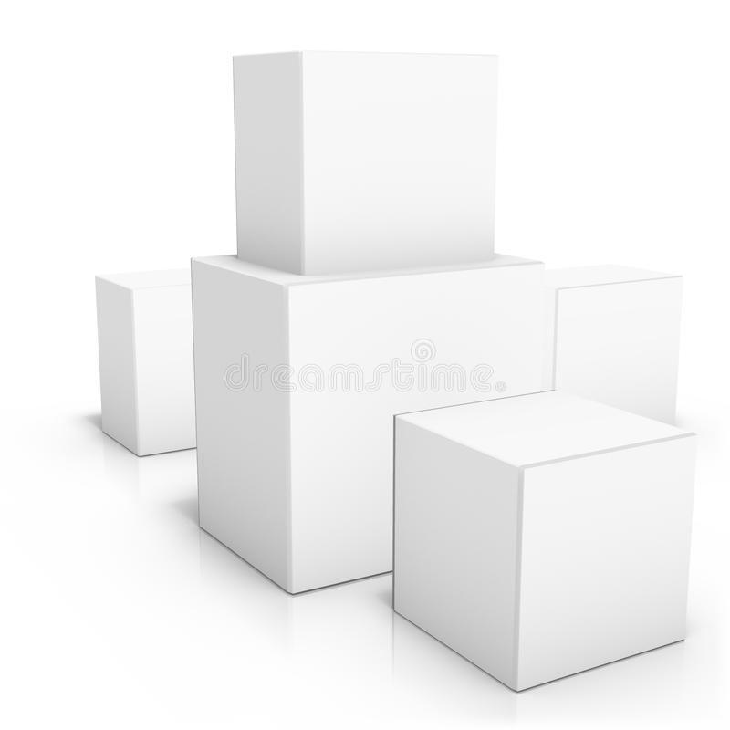 Couple of blank boxes on white background vector illustration