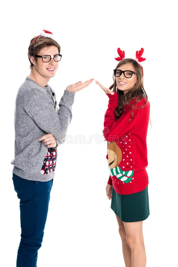 Couple blowing kisses royalty free stock images