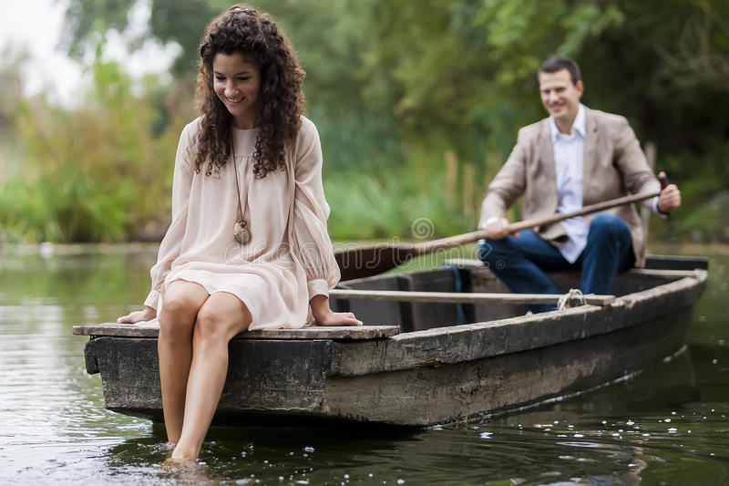 Couple in the boat royalty free stock photos