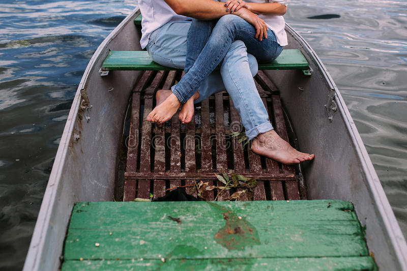 Couple in boat stock images