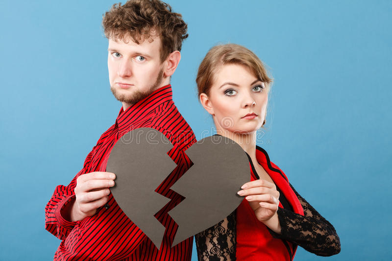 Download Couple With Broken Heart Breaking Up. Stock Photo - Image: 83711102