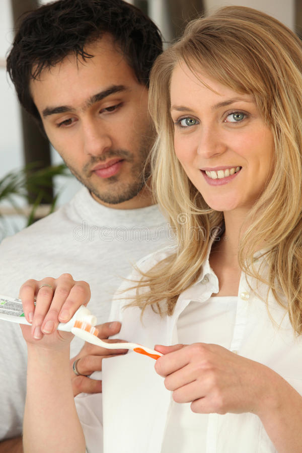 Download Couple Brushing Their Teeth Stock Photo - Image: 25666642