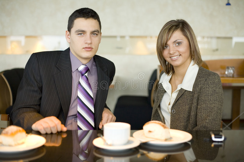 Download Couple Of Business People At Coffee Break Stock Photo - Image: 1950556
