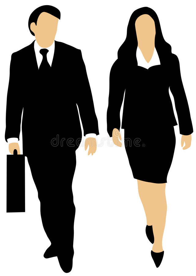 Download Couple Of Business People Walking Forward Royalty Free Stock Photos - Image: 14841178