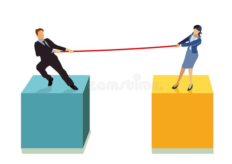 Tug of war. A couple or a businessman and a woman at a tug of war vector illustration