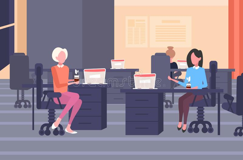 Couple businesswomen colleagues discussing during coffee break business women sitting at workplace communication concept vector illustration