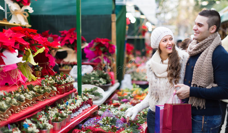 Download Couple Buying Christmas Flower At Market Stock Image - Image of flower, couple: 56878367
