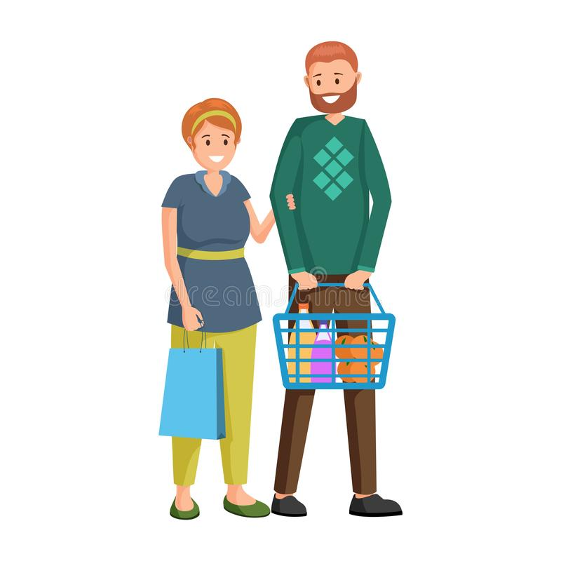 Couple buying grocery products vector illustration. Husband and wife purchasing fresh fruits cartoon characters. Adult shoppers, buyers with shopping basket vector illustration