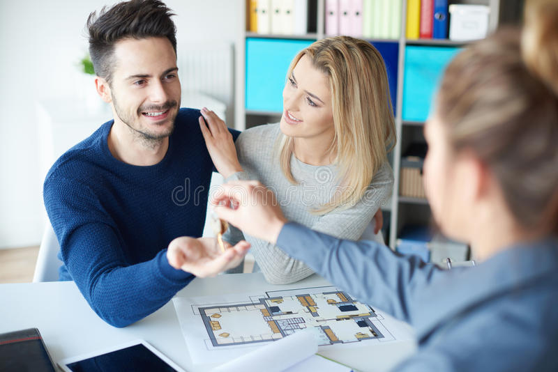 Couple buying noew home stock photos