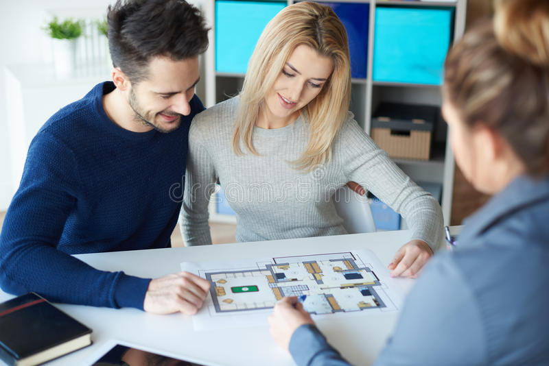 Couple buying noew home stock images
