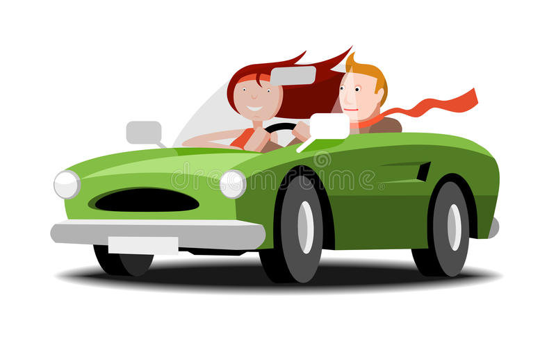 Couple in a cabriolet. Man and woman going cabriolet, vector cartoon illustration vector illustration