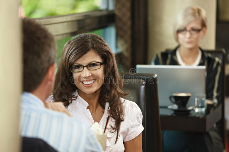 Couple in cafe royalty free stock image