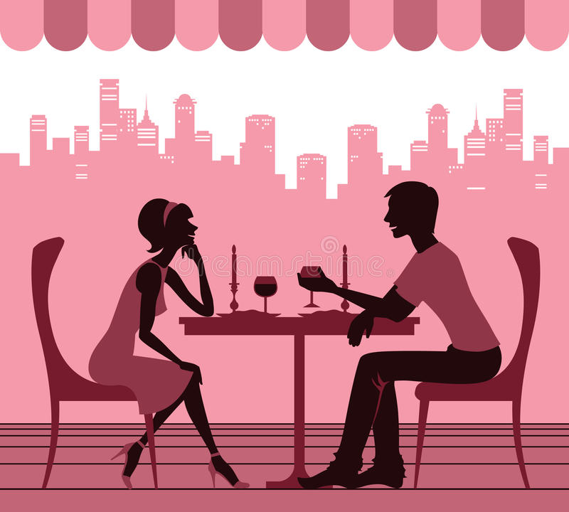 Download Couple in the cafe stock vector. Image of wine, people - 29595846