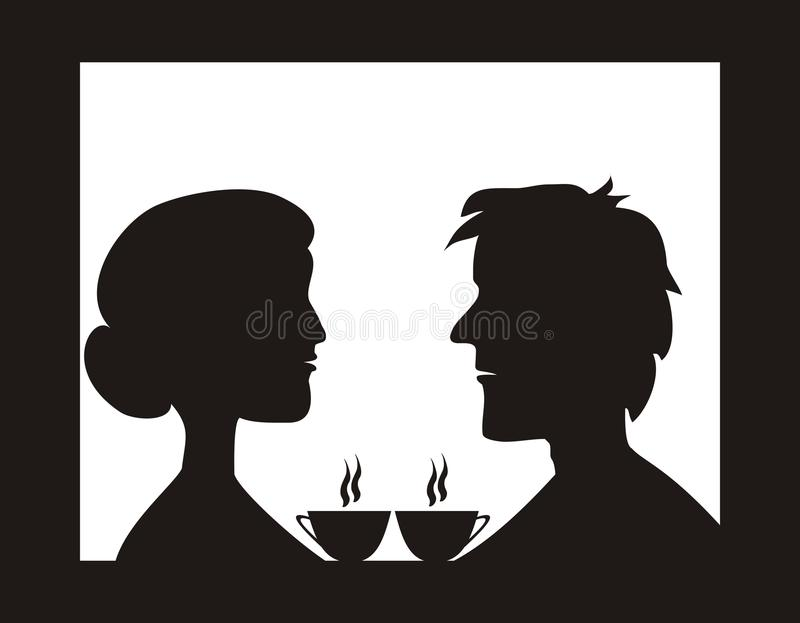 Couple in cafe. Lovers sitting in a cafe with a coffee. Vector illusration. People at restaurant vector illustration
