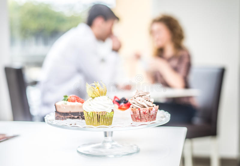 Couple in cafe stock photo
