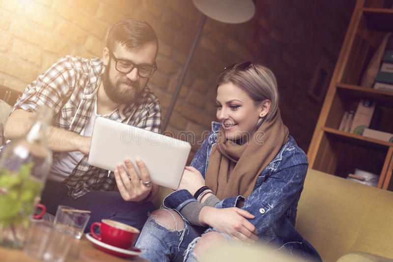 Couple in a cafe royalty free stock photography