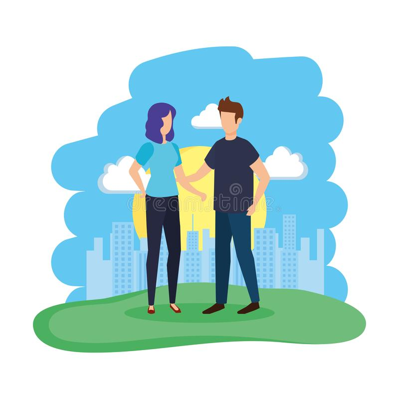 Couple in the camp characters. Vector illustration design royalty free illustration