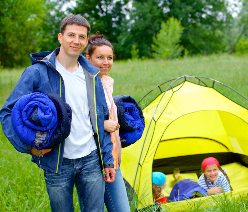 Download Couple camping in the park stock photo. Image of happy - 31845900