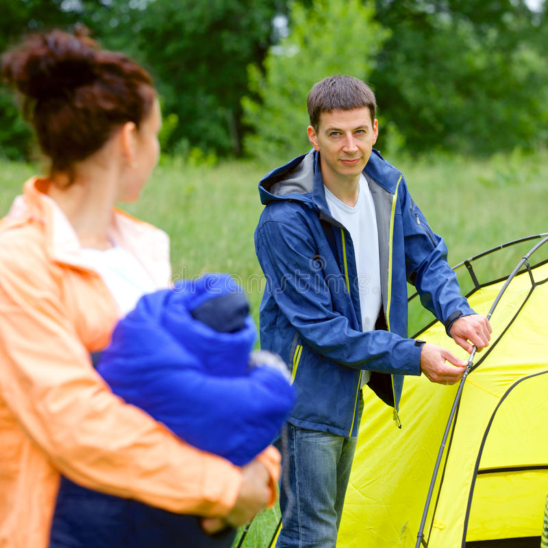 Couple Camping In The Park Royalty Free Stock Photos