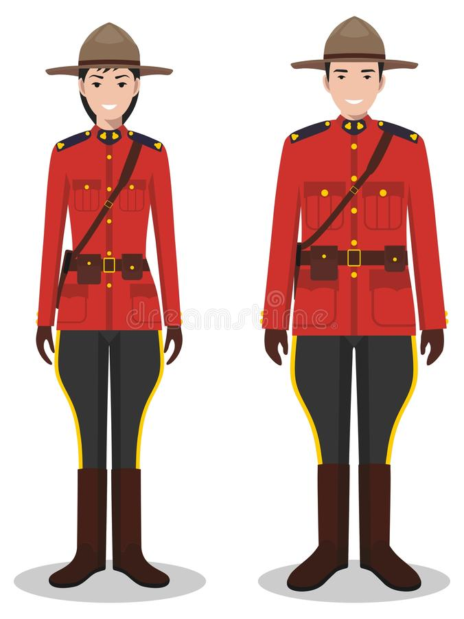 Couple of canadian policeman and policewoman in traditional red uniforms standing together on white background in flat. Couple of canadian police people isolated vector illustration
