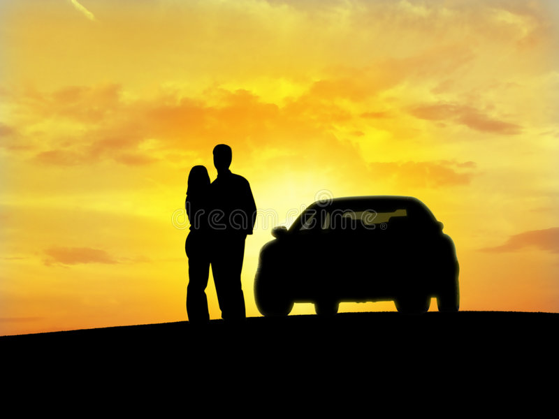 Couple beside the car. (silhouette
