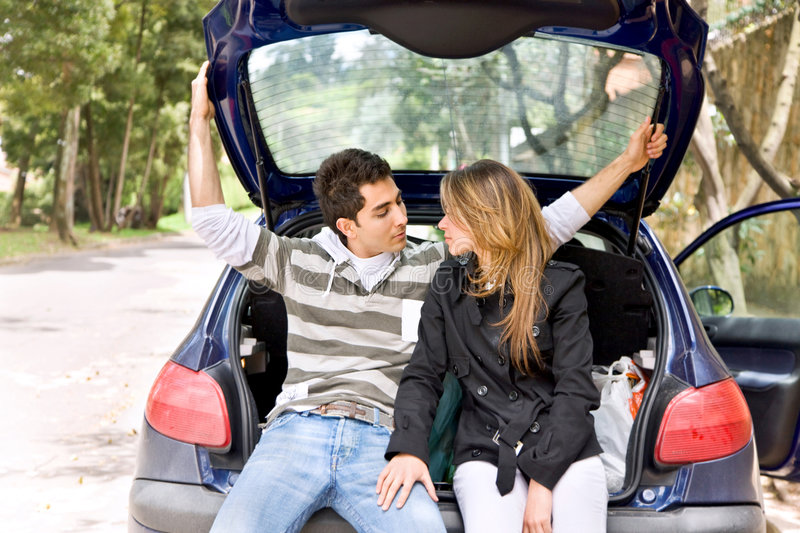 Download Couple in a car stock photo. Image of trip, road, boot - 8691742