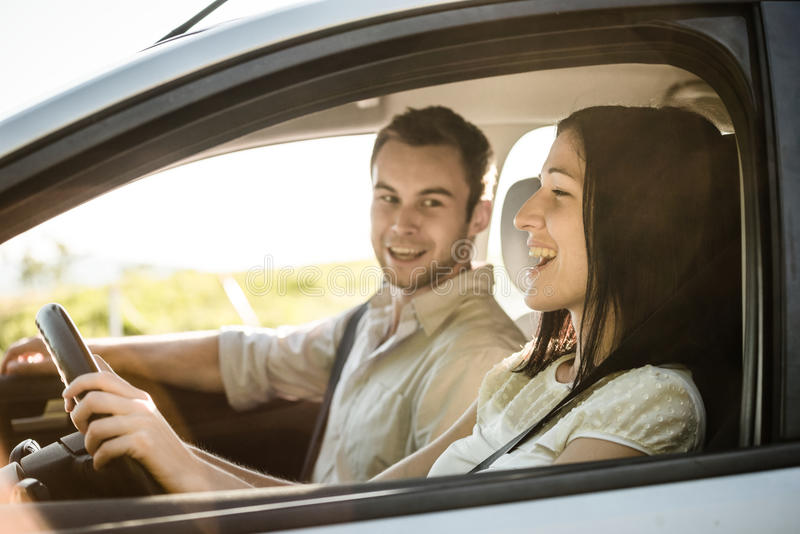 Couple in car royalty free stock photography
